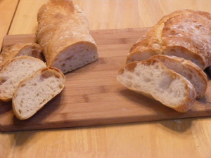 The biga Ciabatta (right) is a bit flat,...